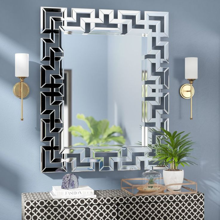Rectangle Ornate Geometric Wall Mirror, Extra Large Wall Hung Mirror