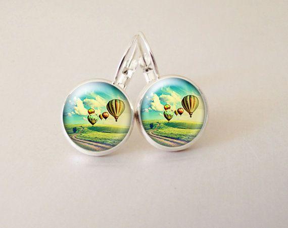 Balloon art  glass cab earrings GCB33 by ArtiFartiGifts on Etsy