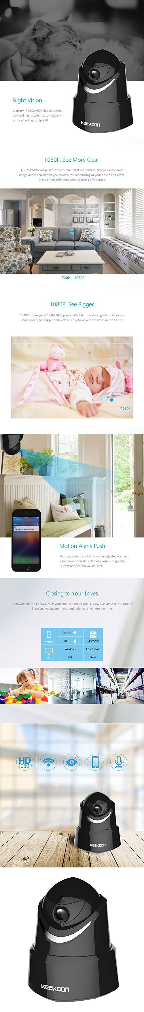 KeeKoon 1080P Wireless/Wired IP Camera ,Baby Monitor with Two-Way Talk & Pan/Tilt & Night Vision[Black]