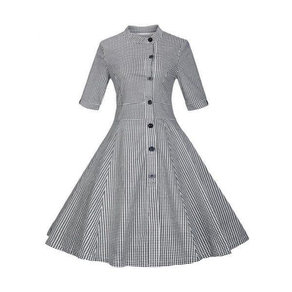 Plaid Shirt Dress with off-set buttons - Dress Lily