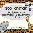 Zoo Animals ABC Alphabet Letter Sort Sorting Mats This set contains letters A to Z to sort Uppercase and Lowercase. I use this as a teaching tool...