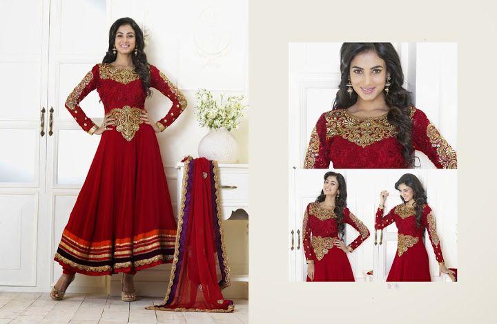 Gleaming Crimson Salwar Kameez   StylishKart.com