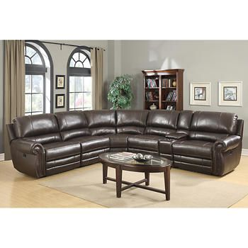 Baxter 6 Piece Top Grain Leather Reclining Modular Sectional Family Room Furniture