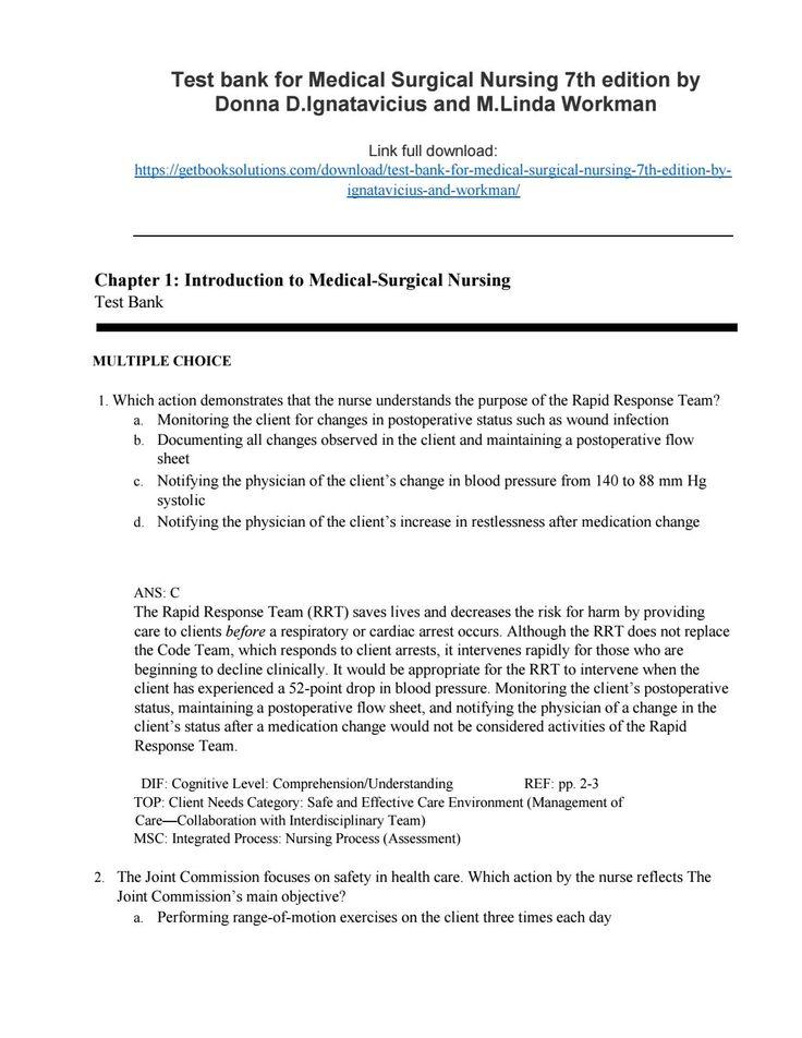 medical surgical nursing ignatavicius pdf