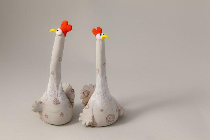 "Stoneware Sculpture ""Two Suspicious Chickens"", Handmade Animal Figure. €34.00, via Etsy."