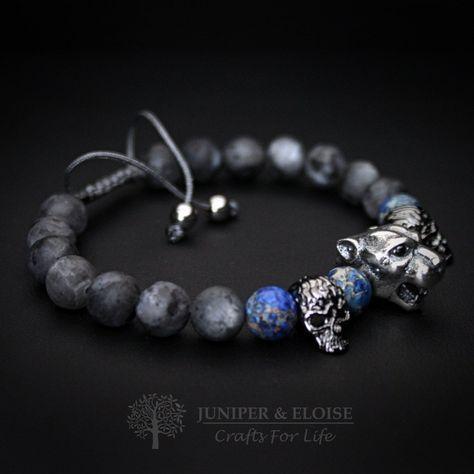 Valentines Day Gift, Lion Bracelet Mens Bracelet, 925 Silver Lion head, Jewelry For Men Women Watch Companion, Matte Bea…