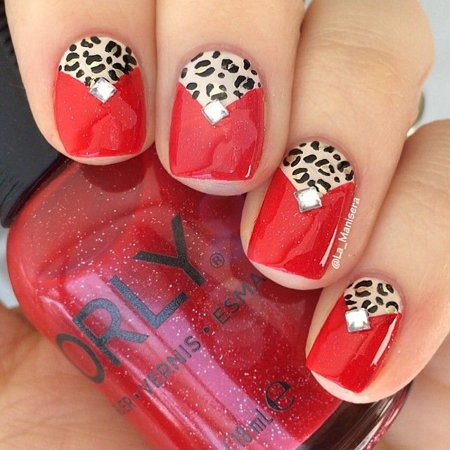 """Glam"" nails for April's #LLglam theme by @thelacquerlegion. Sparkly red, gold leopard print and ""diamonds"" are about as glam as these nails will ever get.  Featuring @orlynails Red Carpet, sealed with @glistenandglow1 #hkgirltopcoat. Freehanded with my @winstonia_store brushes.  Inspired by many, but most recently a gorgeous pink/leopard half-moon mani by the amazing @just1nail. ❤️"