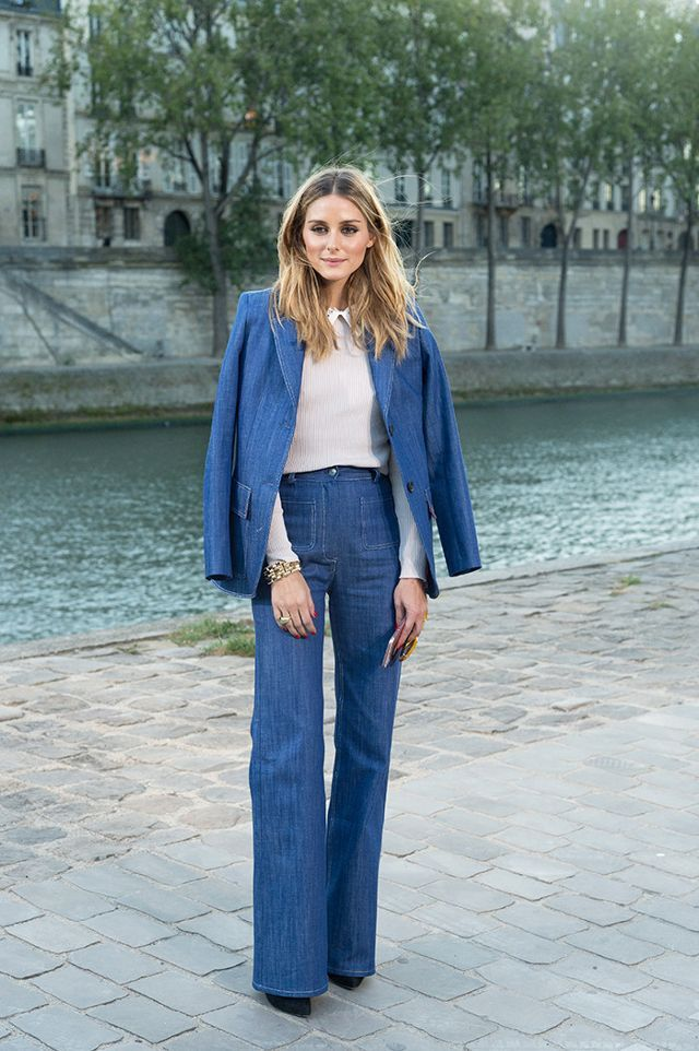 Sure, this suit is denim—but the cut and structured silhouette make it sophisticated enough for the office if you work in a more casual setting. On Olivia Palermo: Paul & Joe Eobrother...