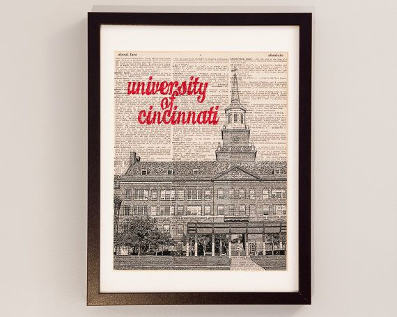 university of cincinnati dictionary art print mcmicken hall print on dictionary paper cincinnati bearcats ohio graduation gift - Home Decor Cincinnati