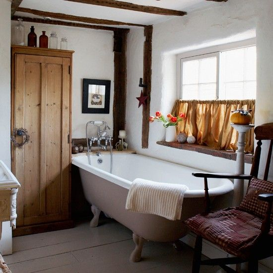 Just like this one! Wish I had beams ....  Vintage country bathroom