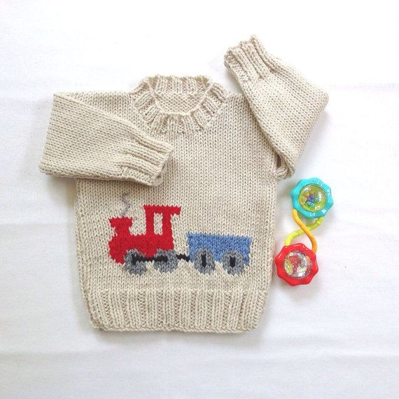 Baby sweater with train motif 6 to 12 months by LurayKnitwear