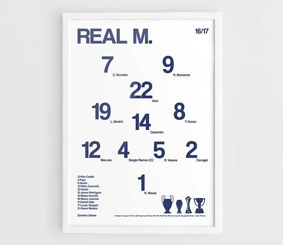 Real Madrid 2016 2017 Football team squad poster  A3 Wall Art