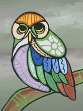 """DUNCAN PHEASANT """"The Owl"""" Painting Manitoulin Island Ojibwa First Nations"""
