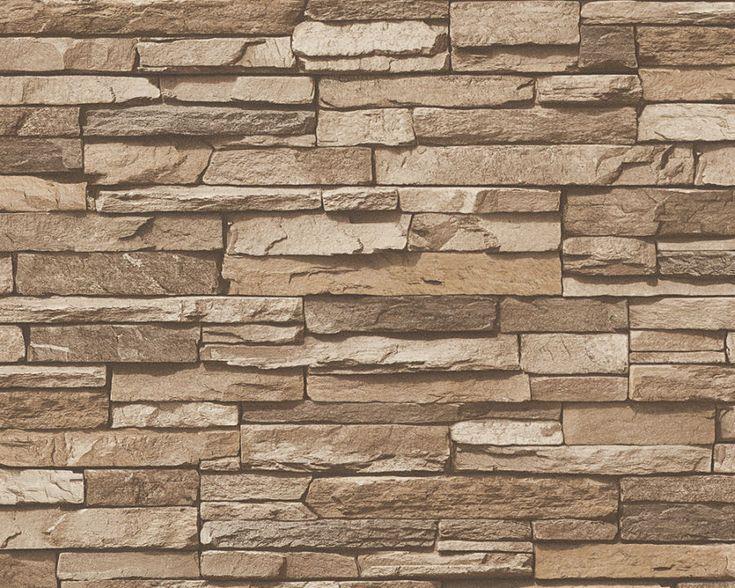 die besten 20+ steinwand tapete ideen auf pinterest - Steinwand Wohnzimmer Braun