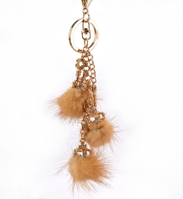 Luxury 14K Gp Crown Crystal Fur Ball Charms Women Handbag Charm Key Chain Gift