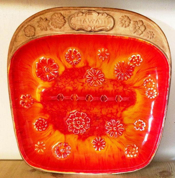 MCM Treasure Craft Orange glaze pottery HAWAII Ashtray