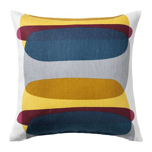 IKEA MALIN FIGUR Cushion cover Blue/grey/yellow 50x50 cm The cushion cover is made of ramie, a hard-wearing natural material with a slightly irregular...