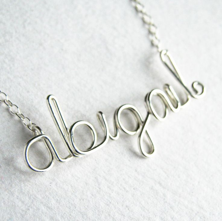 Cute little girl birthday gift! Personalized Custom Name Script Sterling Silver Necklace Lowercase Letters. $45.00, via Etsy.