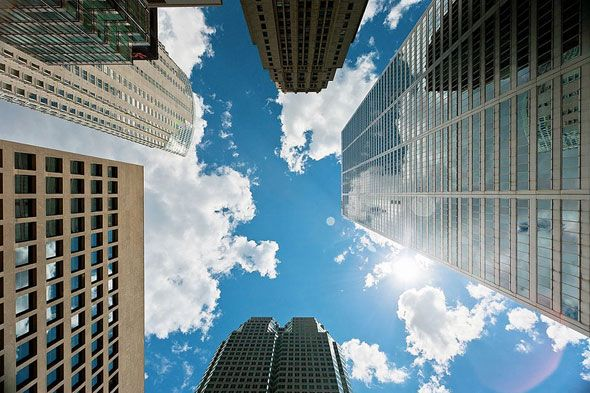 The sky's the limit in the financial district.