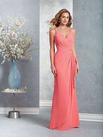 Alfred Angelo Style 7403: floor length bridesmaid dress with V-shaped neckline and spaghetti straps