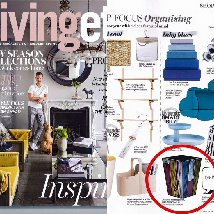Panik is delighted to be featured in @LivingetcUK's Feb issue with Established & Sons Wrongwoods wastepaper bin
