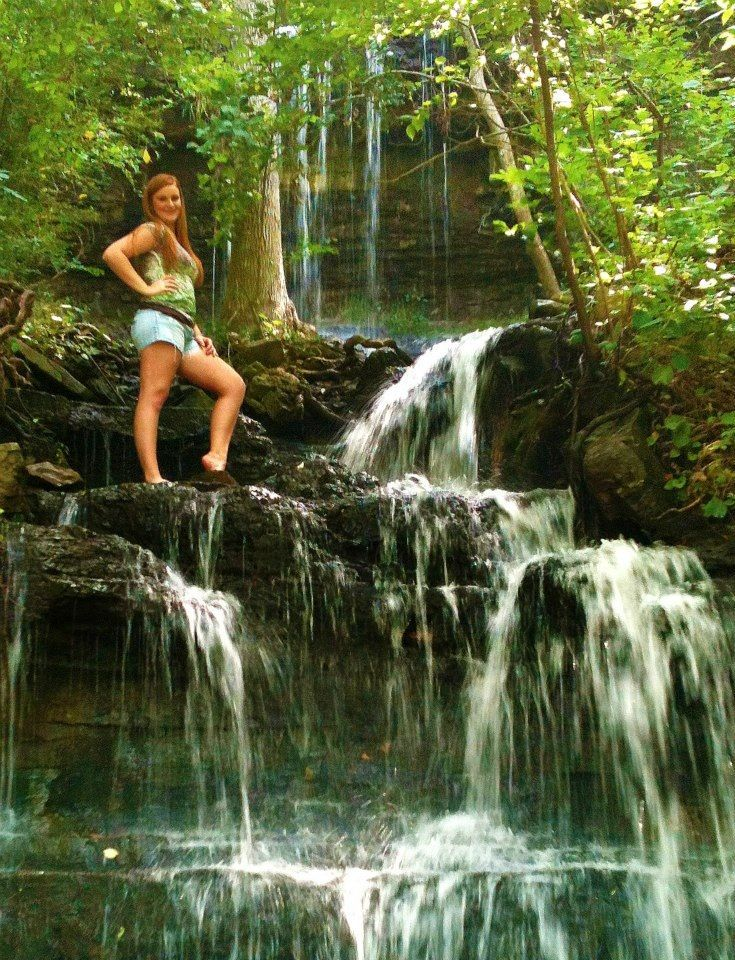 Senior picture. Waterfall pose