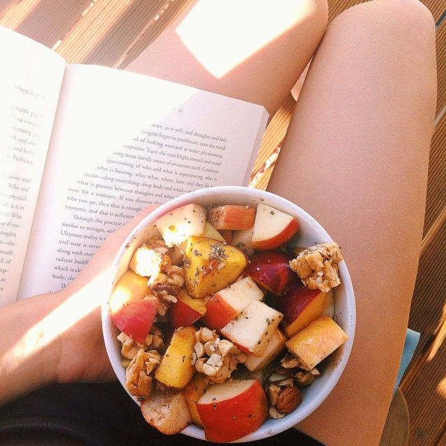 Relaxing afternoon with some light reading + a bowl of fruit with nuts, chia and cinnamon Simple is goooood