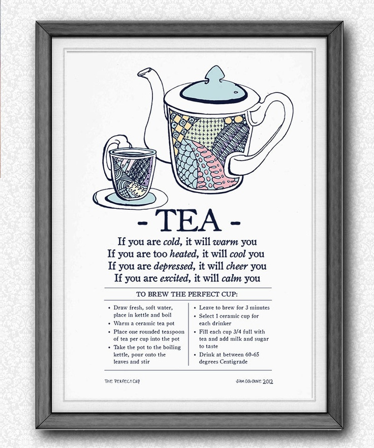 Print Tea Recipe Perfect Cup Typography Vintage Kitchen