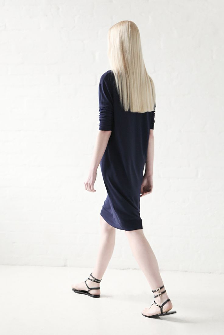 Acne Studios light knit dress and Ancient Greek Sandals.