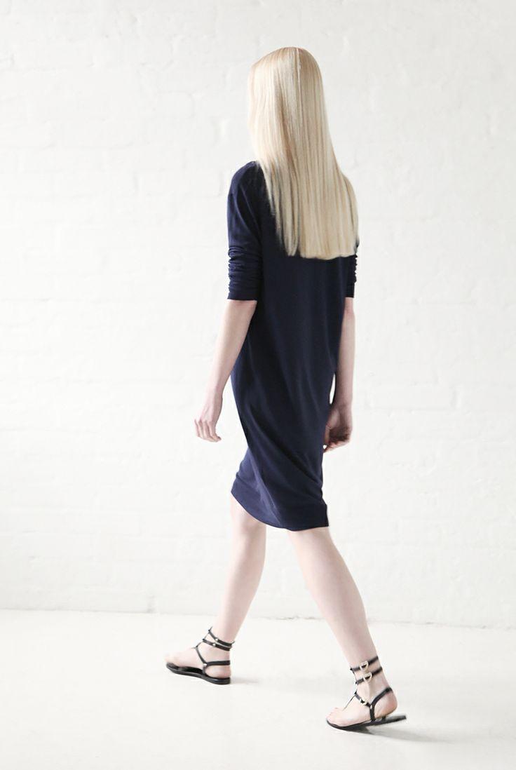 Acne Studios light knit dress and Ancient Greek Sandals.