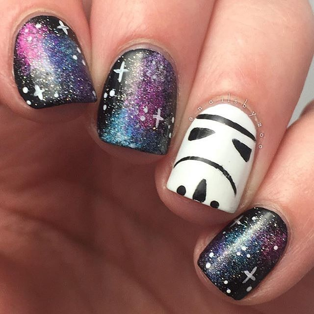 Cosmo Star Wars Nails! #nailart #nails I'm not the biggest Star Wars fan tbh, I just never really watched them; but these galaxy nails: wow!