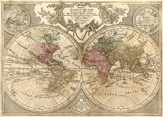 Antique Map of the World Global Maps Old Atlas Instant от UnoPrint