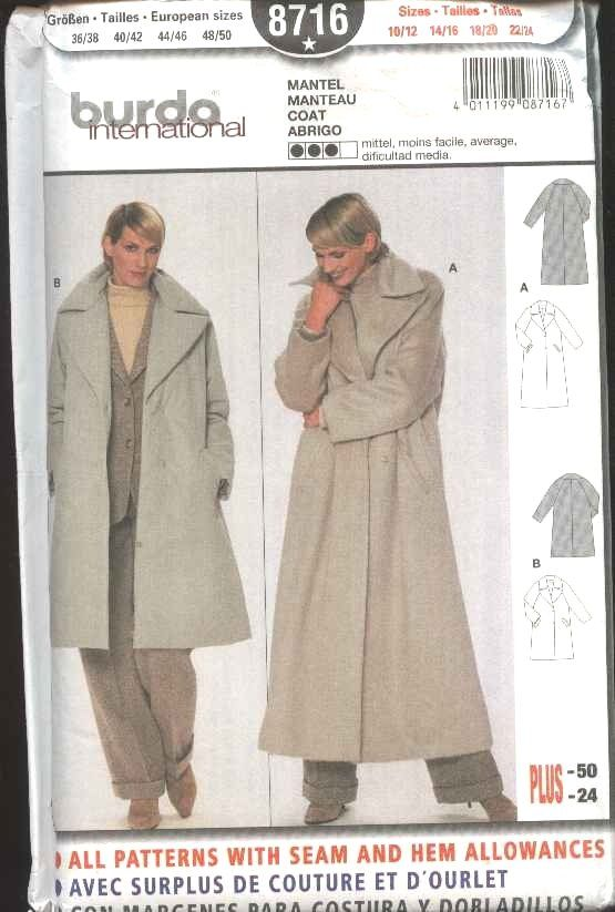 Burda Sewing Pattern 8716 Misses Size 10/12-22/24 Loose Fitting Winter Coat   Burda+Sewing+Pattern+8716+Misses+Size+10/12-22/24+Loose+Fitting+Winter+Coat