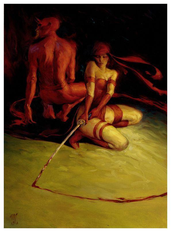 Elektra and Daredevil by Mikael Bourgouin *