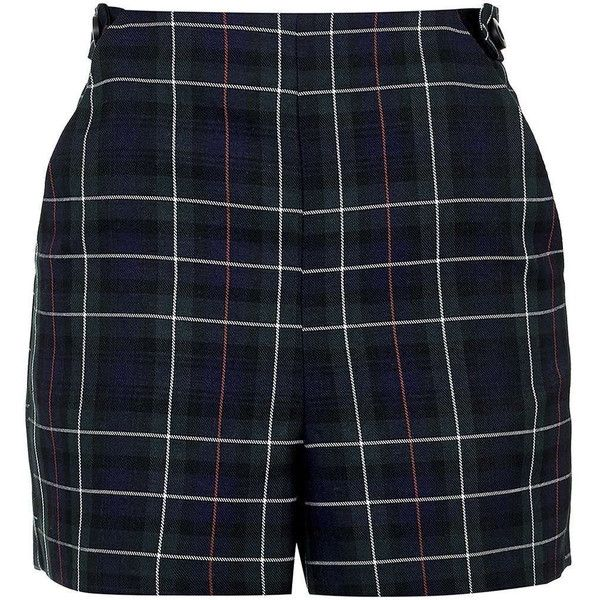 TopShop Petite Tartan High-Waisted Shorts (165 PLN) ❤ liked on Polyvore featuring shorts, bottoms, topshop, clothes - shorts, navy blue, navy blue shorts, navy shorts, topshop shorts, high-rise shorts and petite shorts