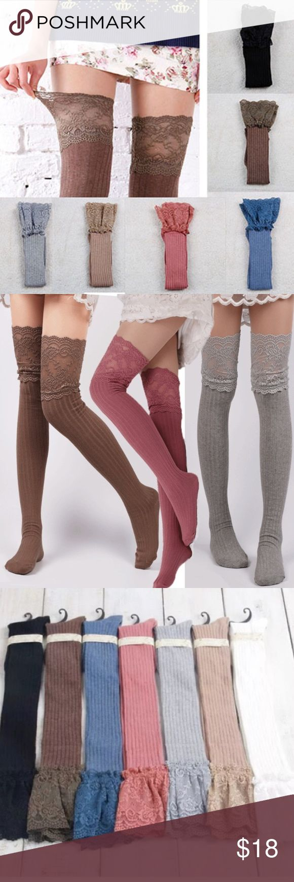 "Thigh High Ribbed Lace Top Stocking Socks Brand new plush lace top high socks. Wear with your favorite mini dress to warm your legs and add style to your outfit. 22"" unstretched, 25"" worn. Ship same day if ordered by 10:00 CST. Bundle 3 items and save 15% Accessories Hosiery & Socks"