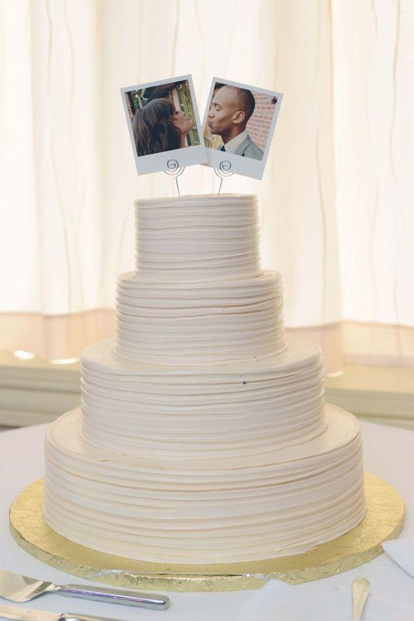 Instead of having someone create a wedding cake topper that kinda-sorta looks like you and your beau, take some pictures and make them your topper. You can make silly faces, or snap a shot of the two of you making heart eyes at one another. Truly one of a kind.