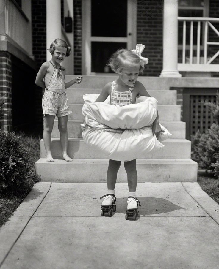 Innovative Pillow Safety: Little Girl on Skates, 1936