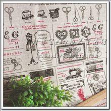 140-50 cm hoge kwaliteit retro stempel katoen linnen stof telas diy patchwork pop doek naai tafelkleed gordijn textiel tecido(China)