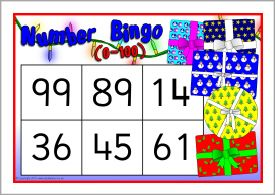 Christmas numbers bingo 0-100 (SB10161) - SparkleBox
