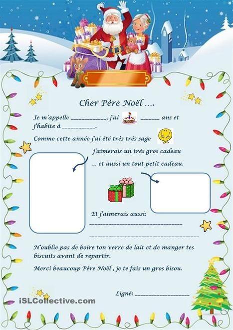 Lettre au Père Noël fiche d'exercices - Fiches pédagogiques gratuites FLE | PASSION FLE | Scoop.it