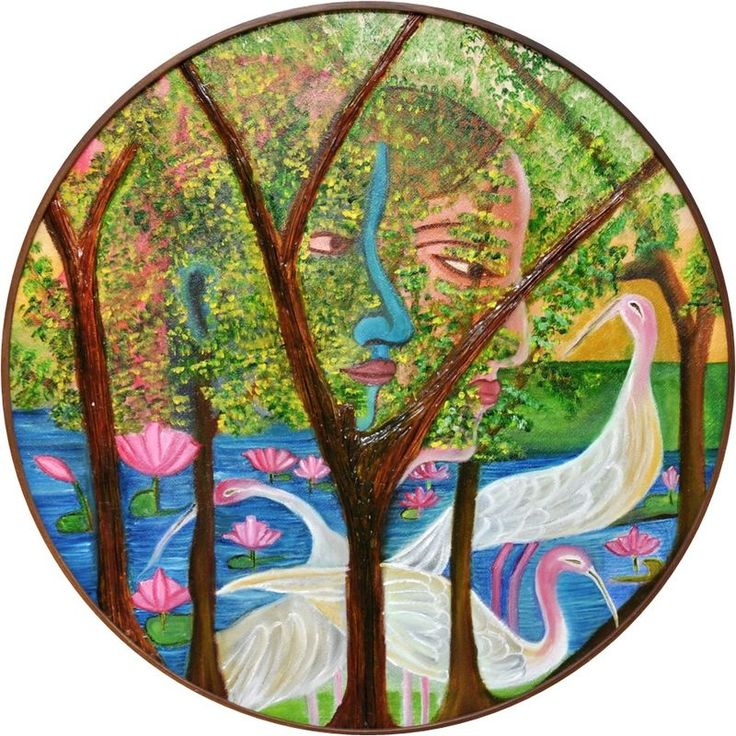 """Free Shipping-- RK Circle-1, Mix Media on Canvas Painting, Circle's Diameter is 24"""""""