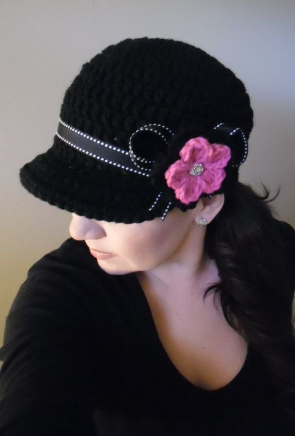 Black / Hot Pink Flower Crochet Womens Newsboy Hat Chemo Hat Cap Crochet Handmade. $25.99, via Etsy.