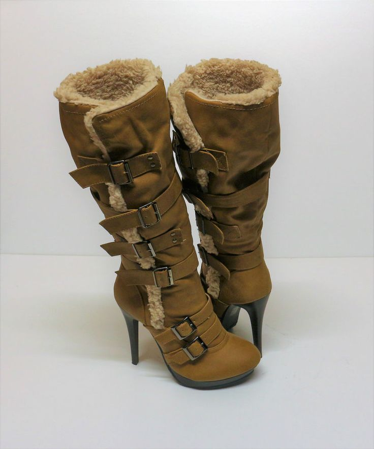 NEW WOMANS LADIES TRUFFLE Tan Faux Leather Boots Heels Size 7 UK KNEE HIGH