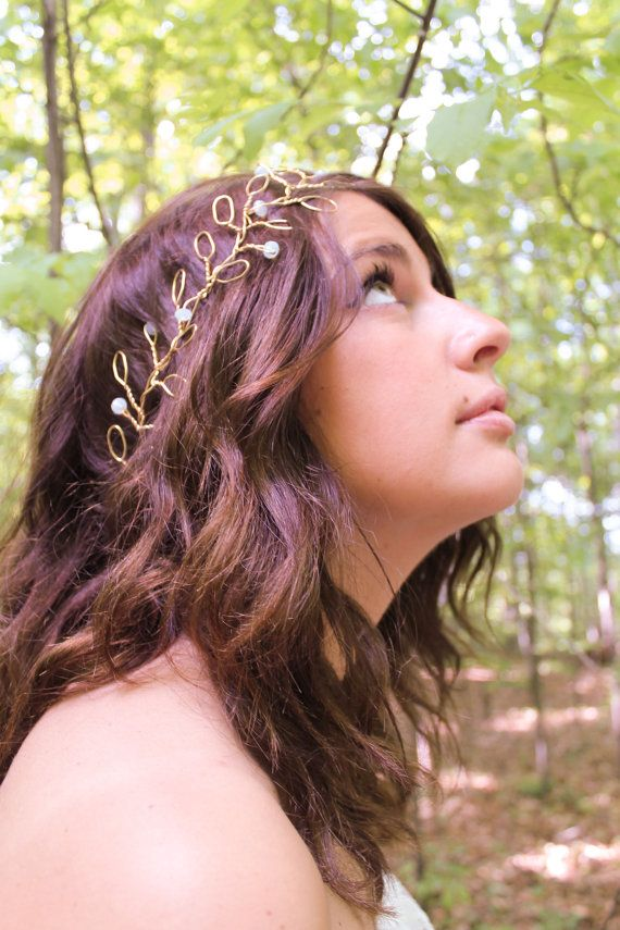 Esther: Floral Wire Crown Leaf Crown Gold by HappilyEverHeadwear