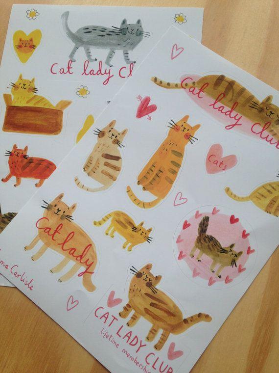Cat Lady Club A5 Sticker Sheet Pack by emmacarlisle on Etsy