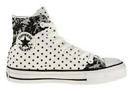 Black and white polka dot convers