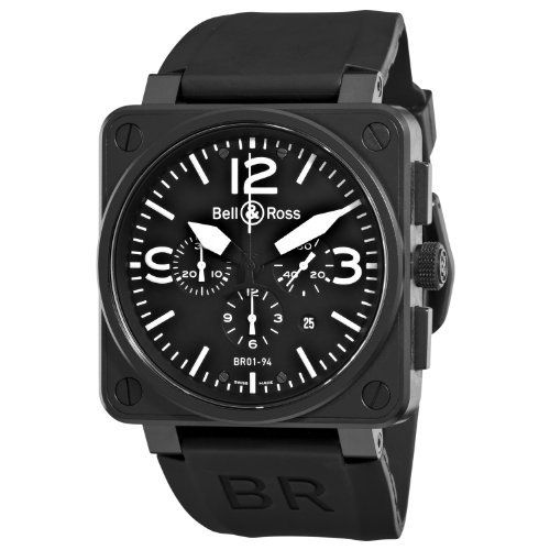Bell & Ross Men's BR-01-94-CARBON Aviation Black Chronograph Dial Watch Watch Bell & Ross. Save 38 Off!. $4164.79. •Automatic Movement•Black Stainless Steel Case•Black Chronograph Dial•Black Rubber Strap•Water-resistant to 100 M (330 feet)