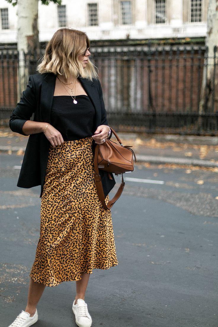 Blazer Leopard Print Satin Midi Skirt Sneakers