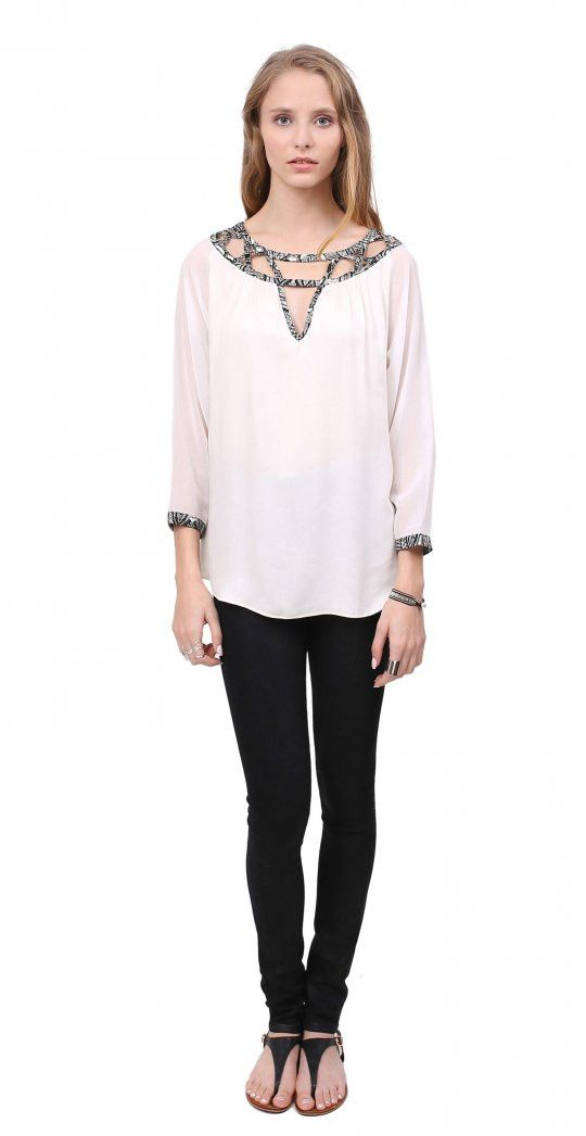 Valencia top from Gentle Fawn - cream with black and white details on neck and sleeves, comfortable fit
